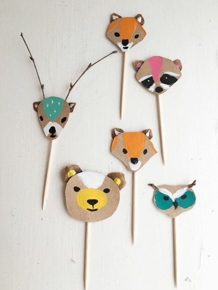 carton animals, on wooden skewers, deer and fox, bear and owl, small group activities for preschoolers