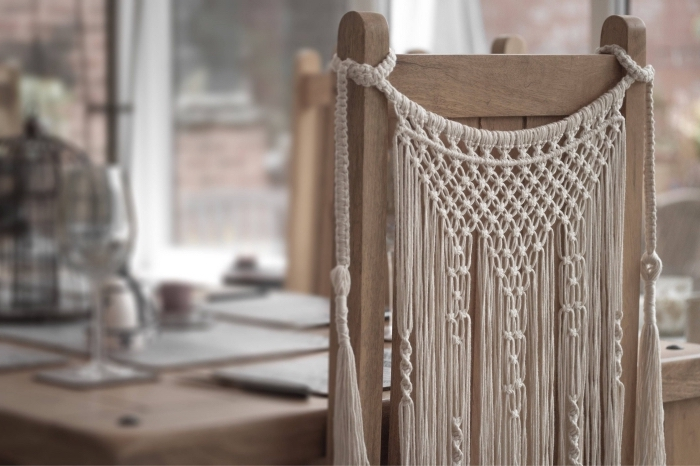 wooden chair, macrame backdrop, macrame chair decoration, wooden table