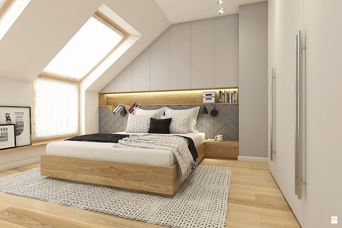white walls, how to decorate room, wooden bed frame and drawers, wooden floor, white knitted carpet