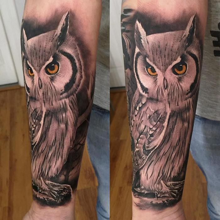 side by side photos, large owl, cool simple tattoos, wooden floor, grey shirt