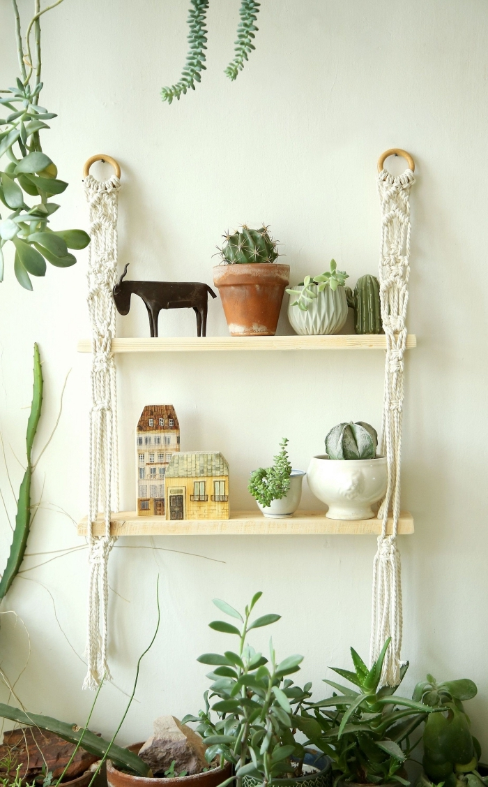 macrame wall hanging knots, hanging wooden shelves, potted cactuses and succulents, white wall