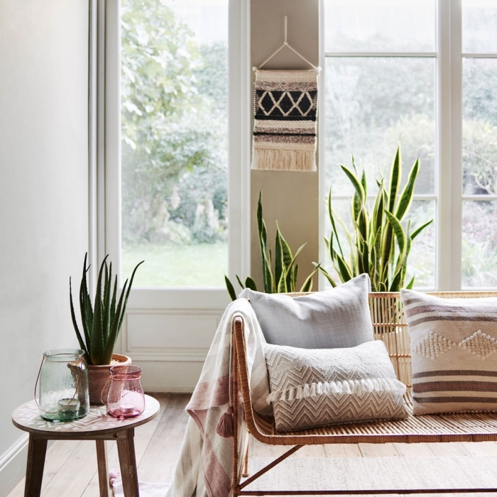 learn macrame, potted aloe vera, wooden sofa, blue and pink candle jars, large windows