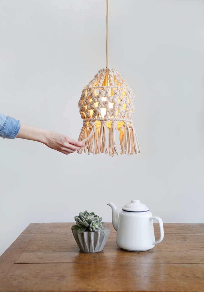 macrame lamp shade, wooden table, potted succulent, learn macrame, white wall