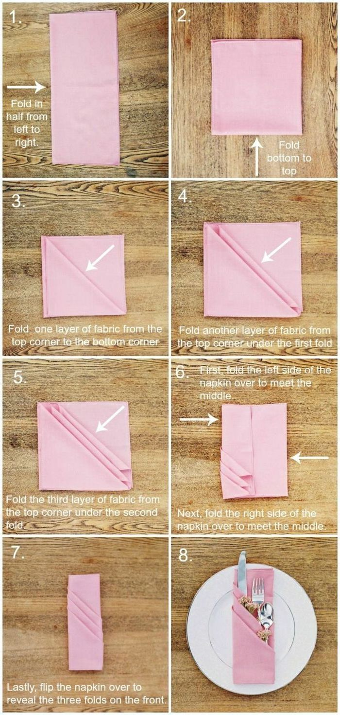 how to fold napkins for napkin rings, pink napkin, silverware inside, step by step, diy tutorial