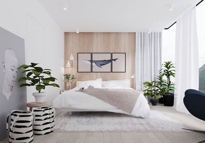 wooden wall, wooden floor, white carpet, master bedroom wall decor, white walls and curtains