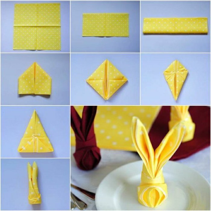 yellow napkin, with white dots, how to fold napkins for napkin rings, step by step, diy tutorial