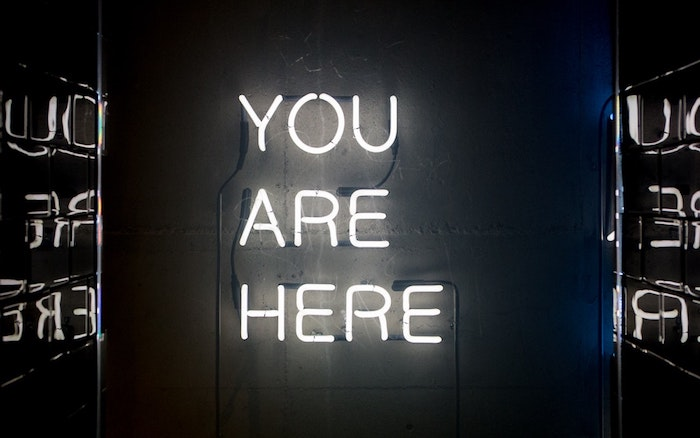 you are here, neon sign, black background, tumblr wallpaper quotes