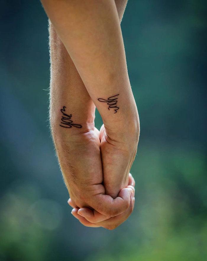 you wrist tattoos, holding hands, matching tattoo ideas