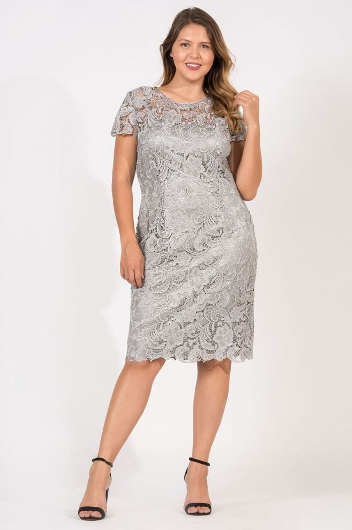 mother of the bride dresses, below the knee, grey lace, blonde wavy hair, black sandals