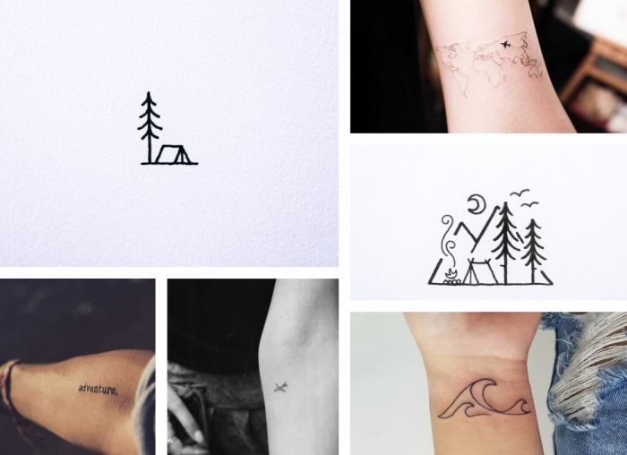 different tattoos, for adventure lovers, planes and landscapes, simple tattoo, on the forearms