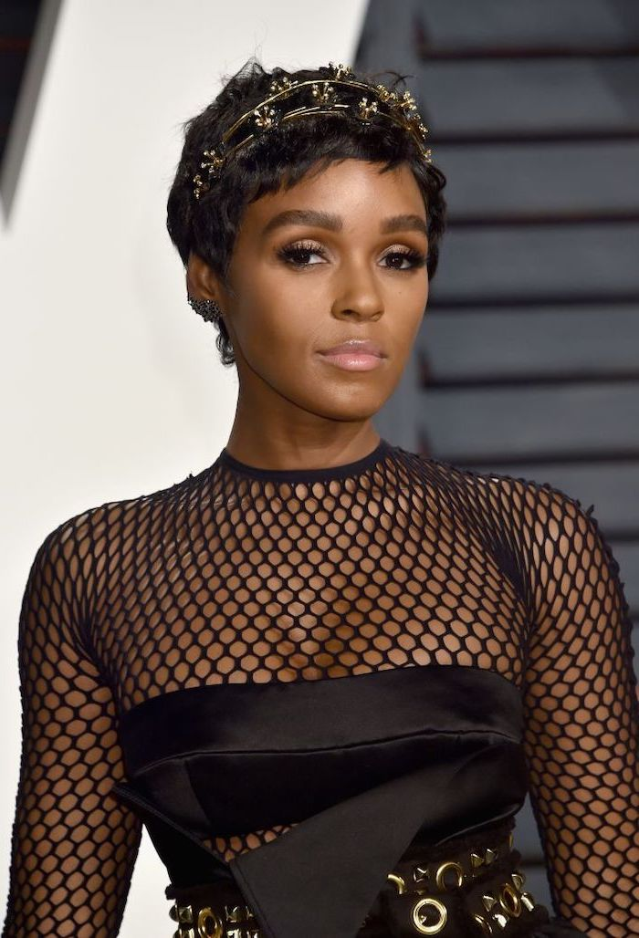 janelle monae, pixie cut, gold hair accessory, short hairstyles for black women, black dress