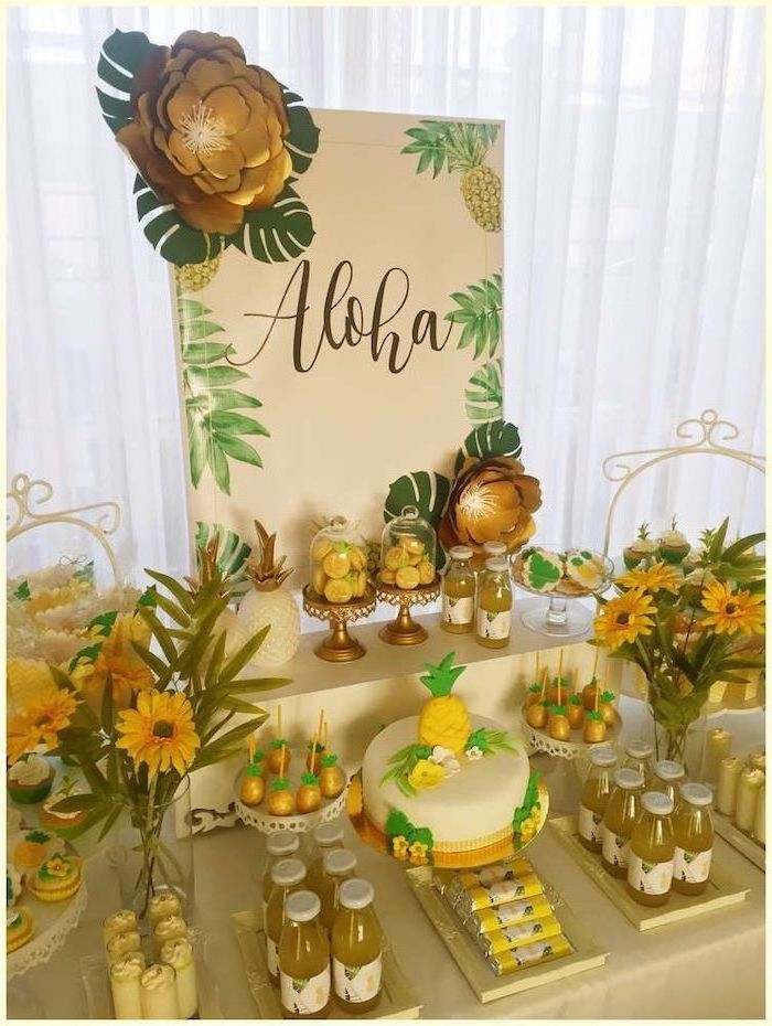 hawaii theme, 13th birthday party ideas, pineapple cake, large gold paper flowers, pineapple juice