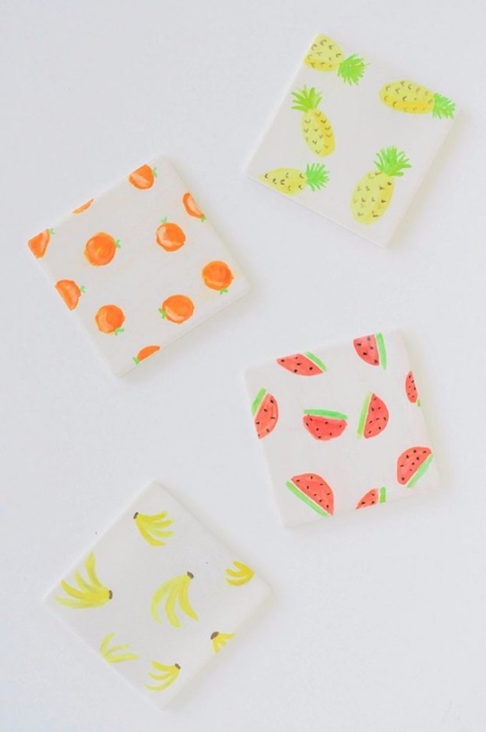 wooden coasters, with fruits, orange and pineapple, watermelon and banana, diys for teens