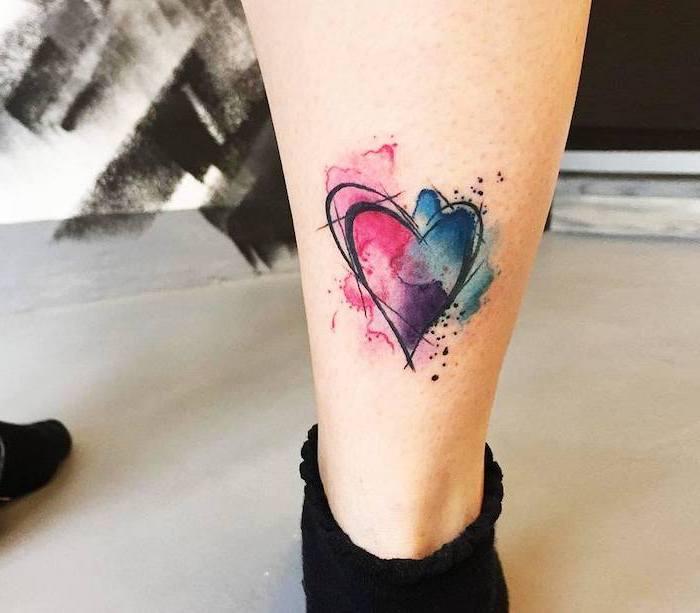 heart tattoo, back of leg, watercolor tattoo, black socks