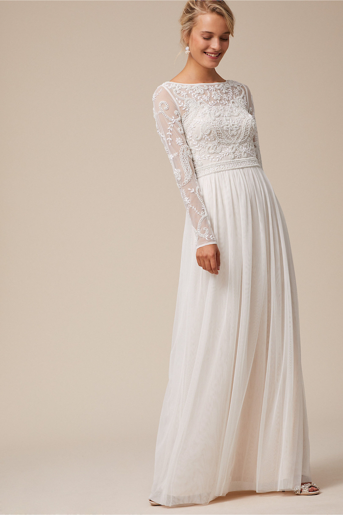 long sleeve wedding dresses, blonde hair, low updo, open toe shoes, long white lace dress