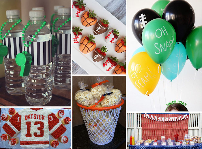 birthday party themes, basketball theme, popcorn bags, concessions stand, black green blue yellow balloons