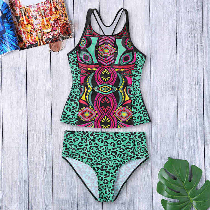 printed two piece, mint green leopard print, toddler girl swimsuits, wooden background, palm leaf
