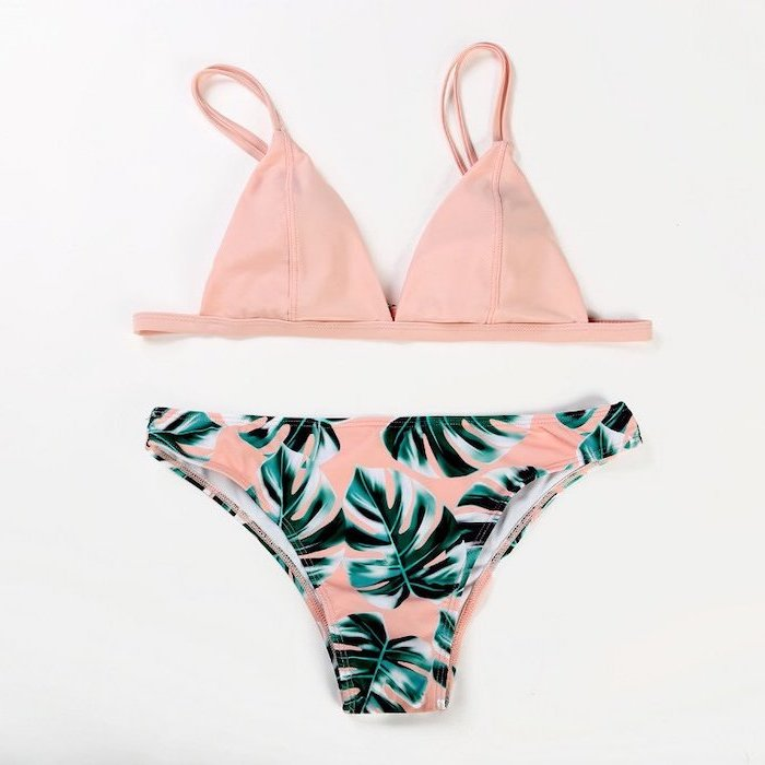 light pink top, green palm leaves print bottom, two piece, toddler girl swimsuits, white background