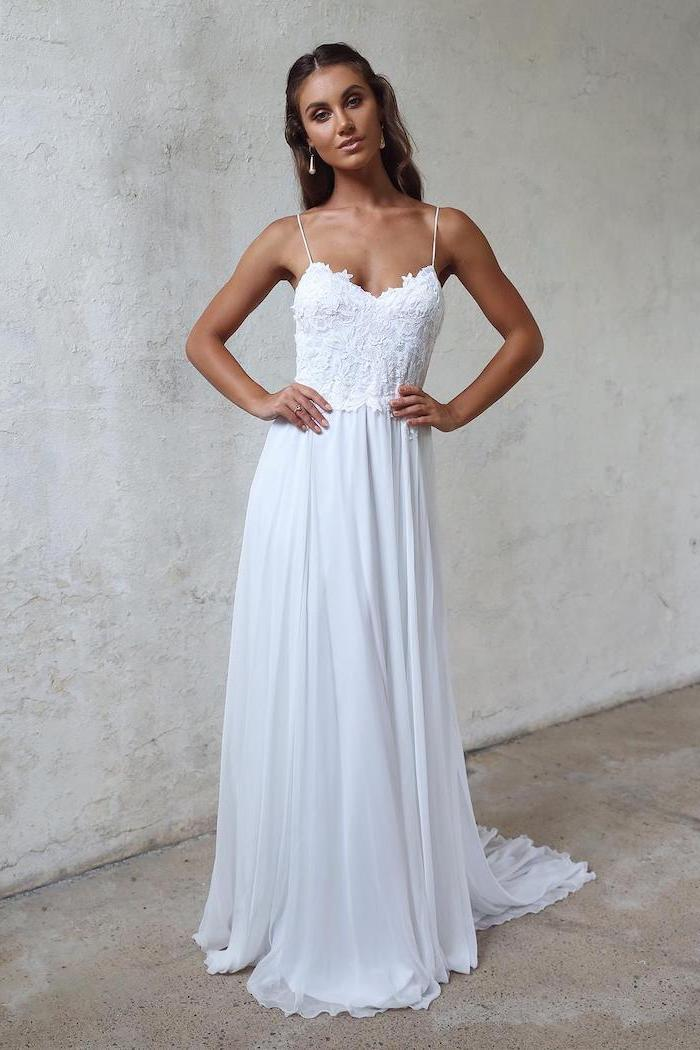 white dress, made of lace and chiffon, beach wedding dresses, long brown wavy hair