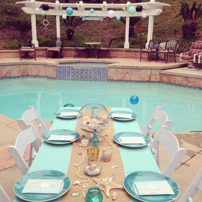 beach theme, by the pool, seashells and pearls on the table, blue and beige colours, 13th birthday party ideas