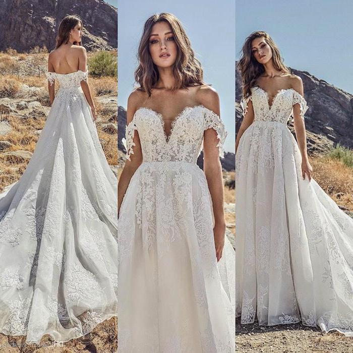 side by side photos, flowy wedding dress, lace corset chiffon skirt, long train, wavy brown hair