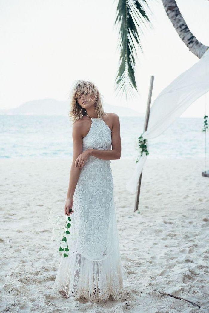 jewel neckline, long lace dress, casual beach wedding dresses, palm tree, short blonde curly hair