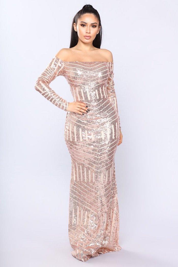 sequin bridesmaid dresses, rose gold, off the shoulder neckline, long black hair