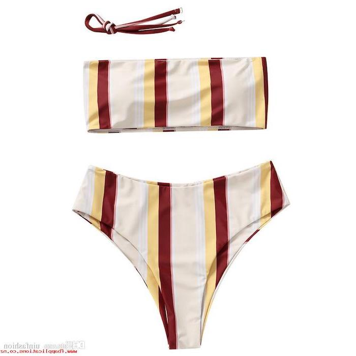 girls one piece swimsuit, beige yellow and red stripes, strapless top, high waisted bottom