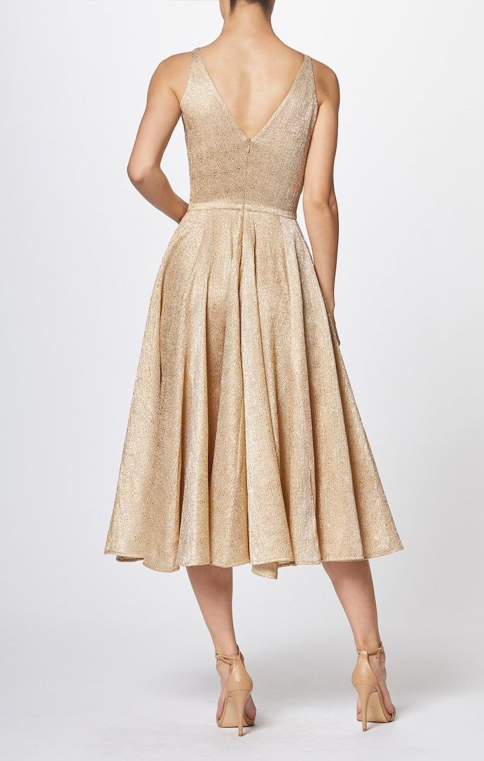 gold pleated dress, below the knee length, nude sandals, sequin bridesmaid dresses