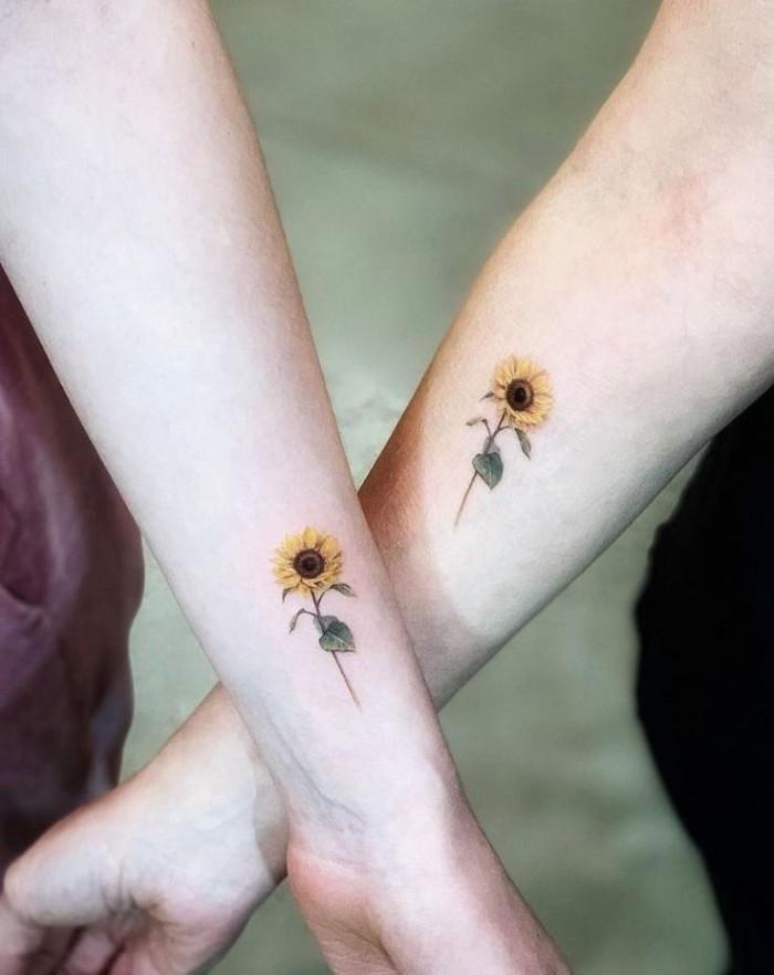 best friend tattoos, yellow sunflowers, side arm tattoo, forearm tattoo