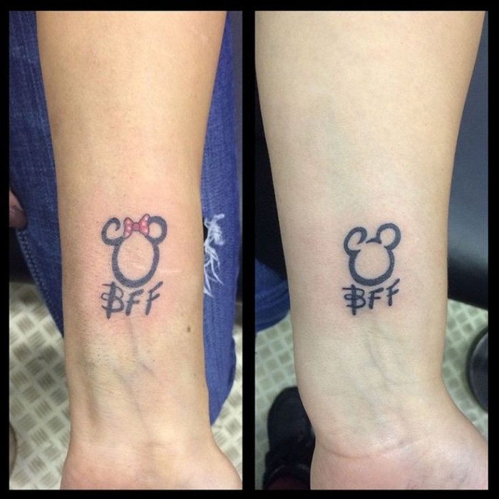 mickey and minnie mouse, bff inscription, matching bestfriend tattoos, forearm tattoos