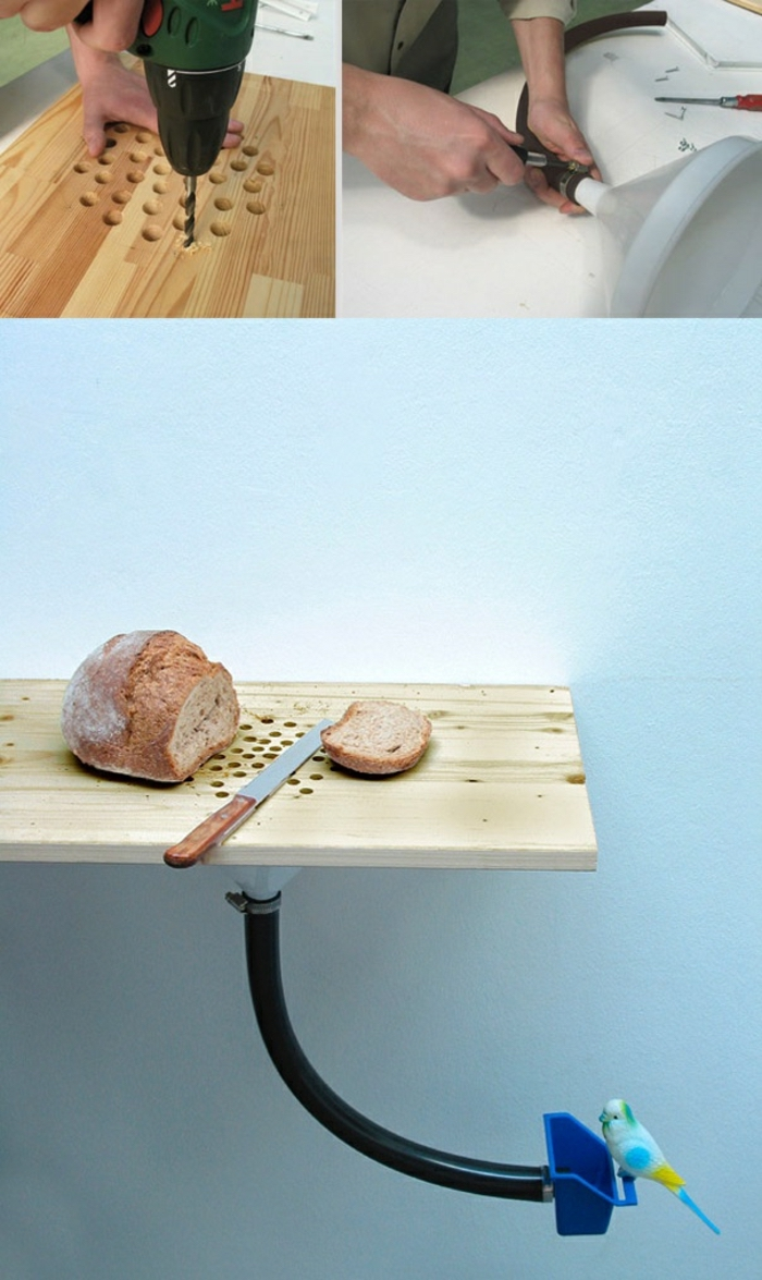 easy diy projects, bird feeder, wooden cutting board, cutting bread, with a knife