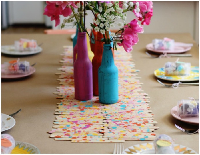 popsicle sticks, table runner, birthday themes, beer bottles, turned into vases, painted in pink and blue
