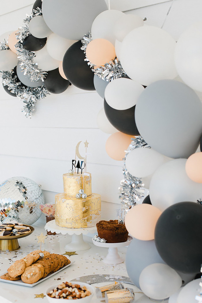 orange and black, grey and white balloons, gold cake, 13th birthday party ideas, white cake stands