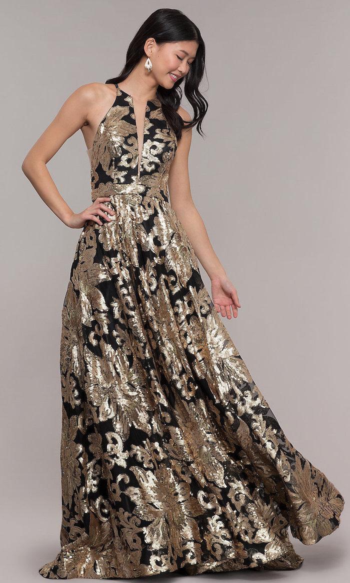 black and gold bridesmaid dresses, v neckline, gold sequin bridesmaid dresses, black wavy hair