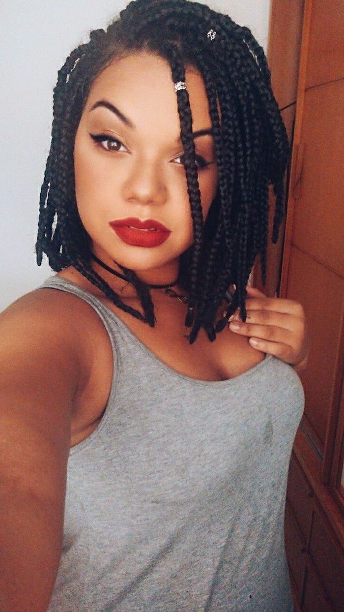 braided hair, with beads, short natural hairstyles for black women, grey top, red lipstick