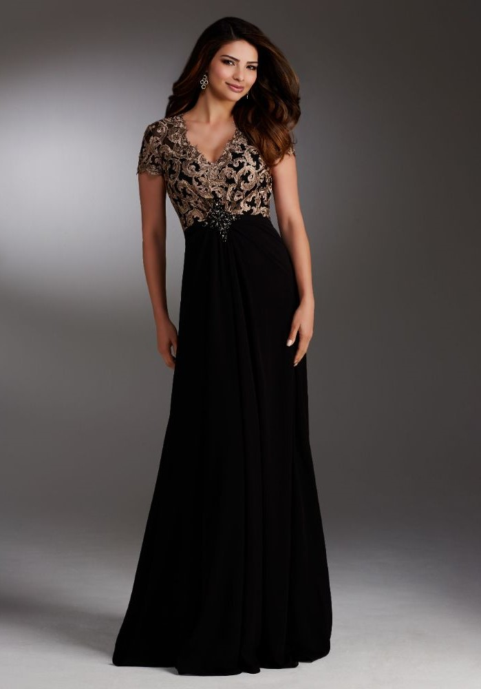 black chiffon, gold lace, mother of the bride dresses, brown wavy hair, grey background