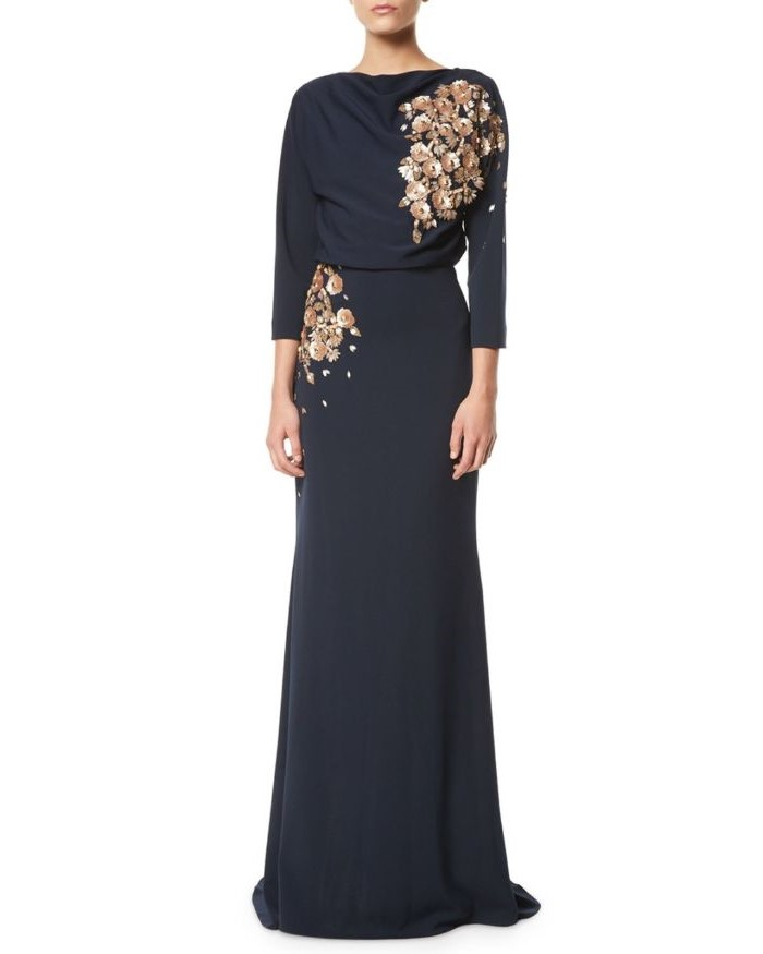 mother of the bride gowns, black chiffon, golden lace, long sleeves, white background