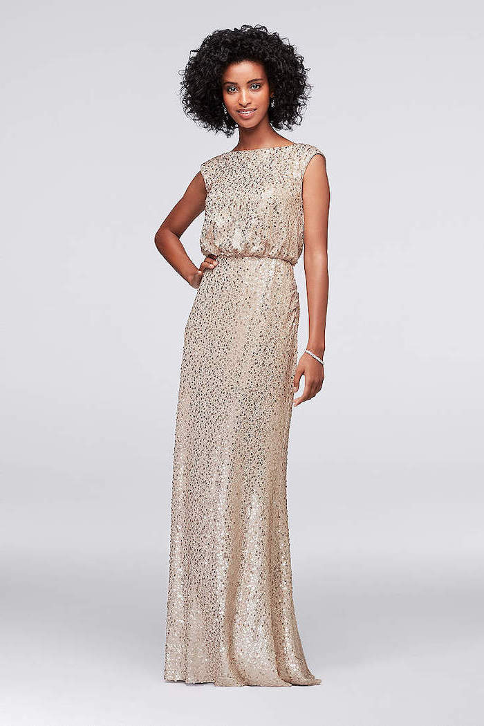 short curly black hair, sequin bridesmaid dresses, long gold dress
