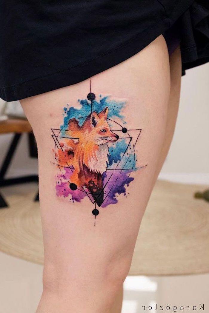 small flower tattoos, geometrical fox, watercolor thigh tattoo, black dress