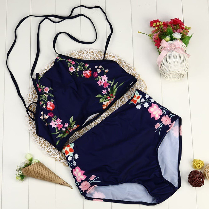 girls swimsuits, black with floral print, high waisted bottom, halter neck top