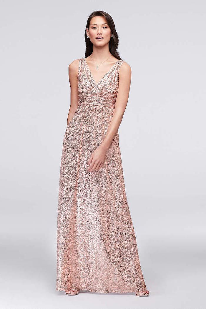 off the shoulder bridesmaid dresses, rose gold, v neckline, brown wavy hair