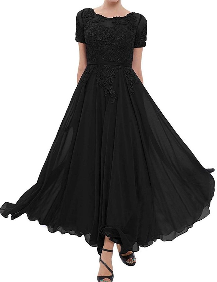black lace and chiffon, mother of the bride gowns, black sandals, white background
