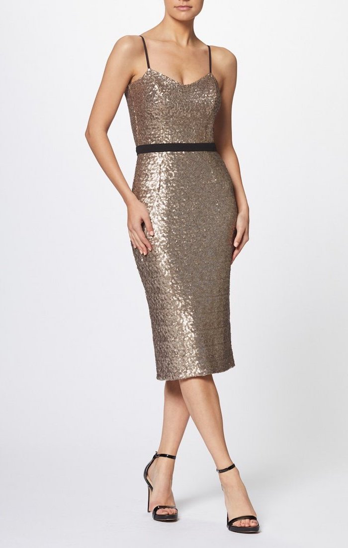 below the knee length, gold sequin dress, spaghetti straps, off the shoulder bridesmaid dresses, black sandals