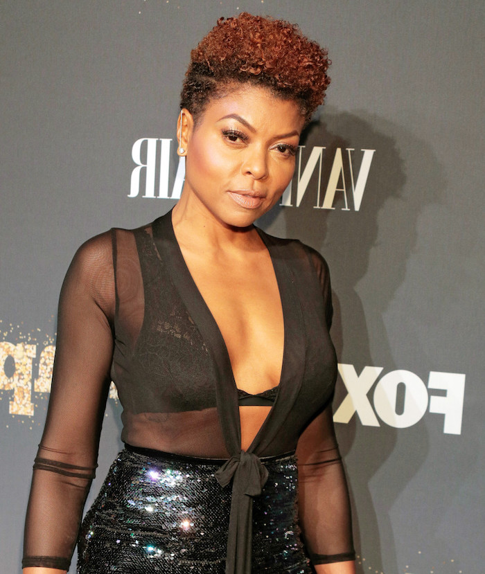 african american short hairstyles, taraji p henson, black sheer top, black sequinned skirt