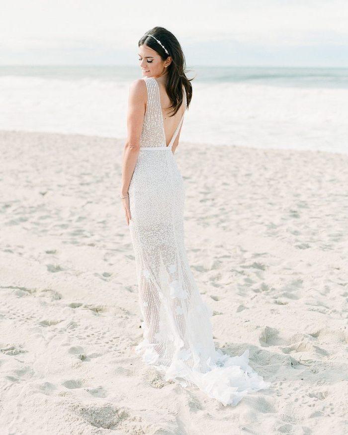 black straight hair, open back, see through, lace dress, flowy wedding dress