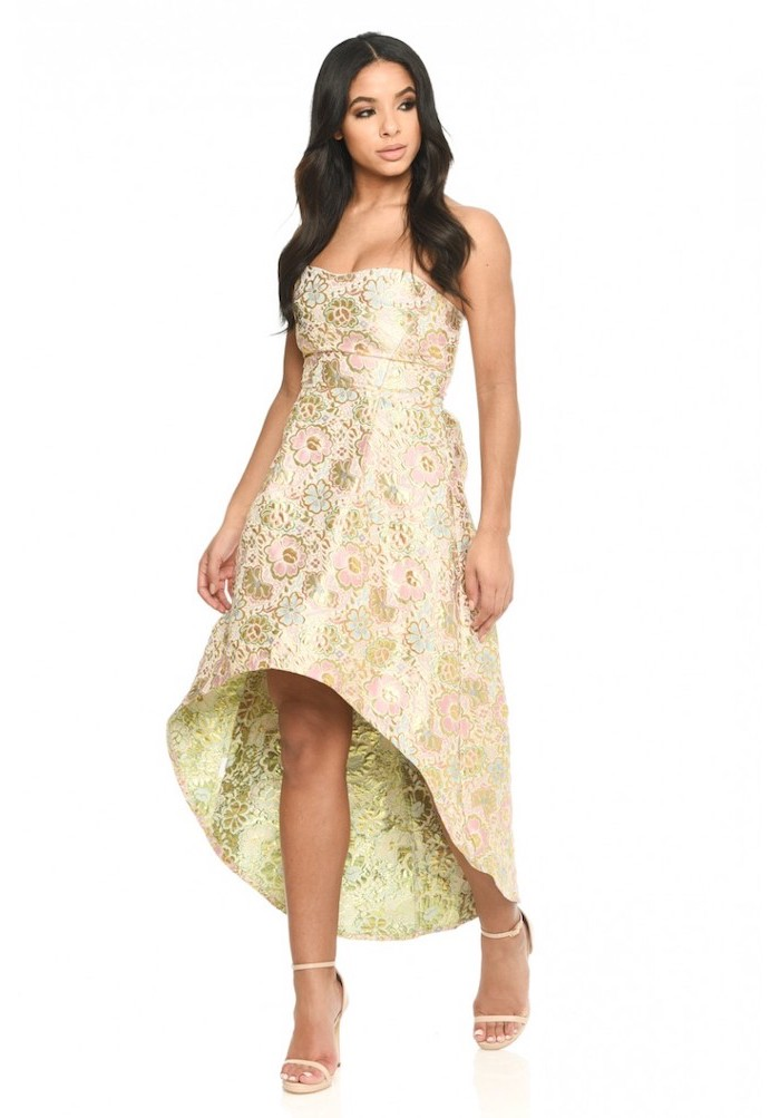 long black wavy hair, floral chiffon, strapless dress, off the shoulder bridesmaid dresses, nude sandals