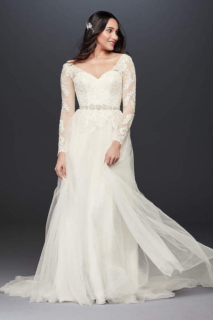 black wavy hair, long sleeves, lace corset, chiffon skirt, white sundress for wedding, black background