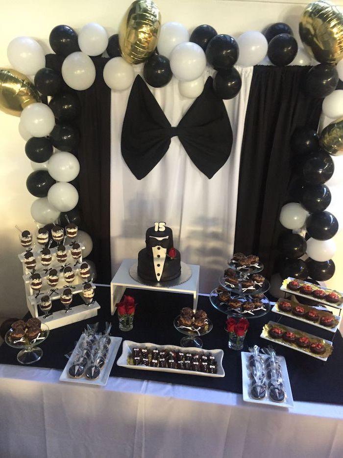 tuxedo theme, tuxedo cake, cupcakes and cookies, 13th birthday party ideas, black and white balloons