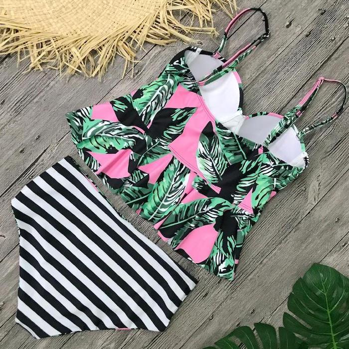 black and white stripes, high waisted bottom, toddler bathing suits, pink with green leaves, printed top